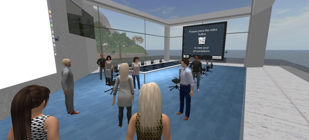 AULA: Konferenzteilnehmer als Avatare in einer Art Konferenzraum