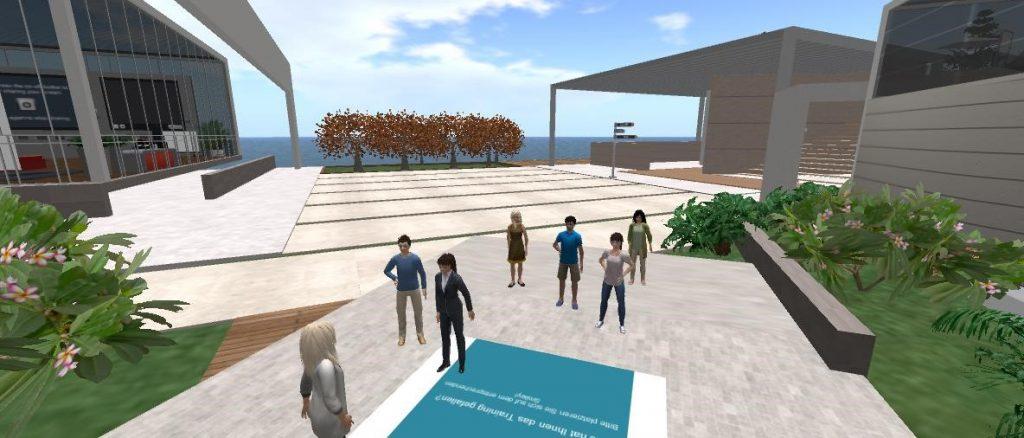 AULA: Avatare, virtuelle Personen, im Freien, wenden sich in Richtung einer (ebenfalls virtuellen) Sprecherin.